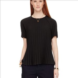 Kate Spade Black Pleated Crepe Blouse XS
